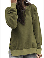 cheap -Women's Daily Pullover Sweatshirt Solid Color Plain Casual Hoodies Sweatshirts  Blue Army Green