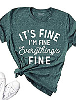 cheap -women funny short sleeve graphic tees it& #39;s fine i& #39;m fine everything& #39;s fine t shirt summer tops dark green