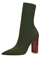 cheap -Women's Boots Pumps Pointed Toe Sexy Party & Evening Solid Colored Elastic Fabric Mid-Calf Boots Almond / Black / Green / Sock Boots