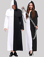 cheap -Wizard Cosplay Costume Outfits Adults' Men's Cosplay Halloween Halloween Festival / Holiday Polyester Black Men's Women's Easy Carnival Costumes / Leotard / Onesie / Leotard / Onesie