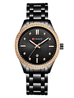 cheap -CURREN Women's Quartz Watches Quartz Modern Style Stylish Casual Water Resistant / Waterproof Stainless Steel Black / Silver / Gold Analog - Rose Gold White+Gold Black One Year Battery Life