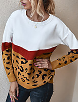 cheap -Women's Sweater Leopard Print Patchwork Crew Neck Color Block Sport Athleisure Top Long Sleeve Warm Soft Oversized Comfortable Everyday Use Exercising General Use