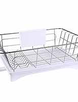 cheap -kitchen dish drainer drying rack dish rack with drainboard with adjustable swivel spout and removable plastic cutlery tray 3 in one set (white)