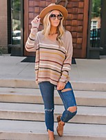 cheap -Women's Stylish Knitted Striped Pullover Long Sleeve Sweater Cardigans V Neck Fall Winter Blushing Pink