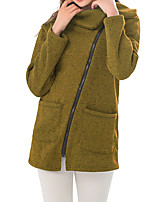 cheap -Women's Zip Up Hoodie Coat Hoodies Pullover Hoody Black Blue Zipper Front Zipper Cowl Neck Fleece Cotton Solid Color Sport Athleisure Pullover Long Sleeve Warm Soft Comfortable Everyday Use