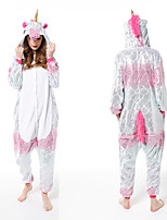 cheap -Adults' Kigurumi Pajamas Unicorn Onesie Pajamas Flannelette Dusty Rose Cosplay For Men and Women Animal Sleepwear Cartoon Festival / Holiday Costumes