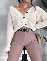 cheap -Women's Basic Knitted Solid Color Plain Cardigan Acrylic Fibers Long Sleeve Loose Sweater Cardigans V Neck Spring Fall White Black Blushing Pink
