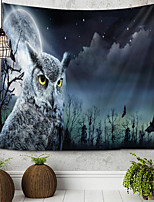 cheap -Owl Moon Tapestry Wall Hanging Tapestries Wall Blanket Wall Art Wall Decor Landscape Painting Tapestry Wall Decor