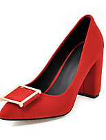 cheap -Women's Heels Wedge Heel Pointed Toe Casual Daily Solid Colored Nubuck Black / Yellow / Red