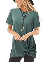 cheap -Women's T-shirt Solid Colored Leaf Knotted Round Neck Tops Basic Basic Top White Blue Army Green