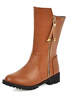 cheap -Women's Boots Wedge Heel Round Toe Casual Daily Solid Colored PU Mid-Calf Boots Black / Brown / Gray