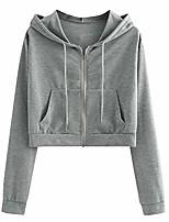 cheap -crop hoodie for teen girls casual long sleeve zip up pullover sweatshirt lovely hooded t-shirt gray