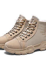 cheap -Women's Boots Flat Heel Round Toe Daily PU Hiking Shoes Black / Khaki / Beige