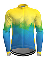 cheap -21Grams Men's Women's Long Sleeve Cycling Jersey Polyester Yellow Green Gradient Novelty Bike Jersey Top Mountain Bike MTB Road Bike Cycling Breathable Quick Dry Reflective Strips Sports Clothing
