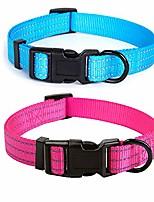"cheap -dog collar | nylon with reflective three 3m straps | 2 pack hot blue/pink, medium neck 13""-17"" -40 lb"