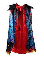 cheap -Witch Cosplay Costume Cloak Kid's Boys' Cosplay Halloween Halloween Festival / Holiday Polyester Blue Easy Carnival Costumes