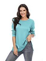 cheap -Women's Blouse Shirt Solid Colored Long Sleeve Round Neck Tops Basic Basic Top Black Blushing Pink Orange