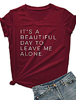 cheap -women& #39;s v-neck cute tees funny letter printed t shirt graphic tops wine red x-large