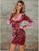 cheap -Women's Sheath Dress Short Mini Dress - Long Sleeve Solid Color Zipper Fall Sexy Party 2020 Fuchsia S M L