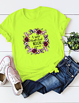 cheap -Women's T-shirt Floral Letter Flower Print Round Neck Tops 100% Cotton Basic Basic Top White Blue Yellow