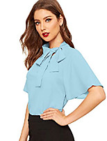 cheap -women& #39;s casual side bow tie neck short sleeve blouse shirt top x-small light blue