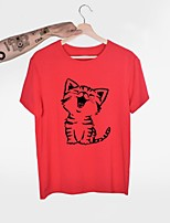 cheap -Women's T-shirt Cat Print Round Neck Tops Basic Basic Top White Blue Purple