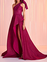 cheap -A-Line Minimalist Sexy Wedding Guest Formal Evening Dress One Shoulder Sleeveless Sweep / Brush Train Satin with Bow(s) Pleats Split 2020