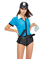 cheap -Police Cosplay Costume Outfits Adults' Women's Cosplay Halloween Halloween Festival / Holiday Polyester Blue Women's Easy Carnival Costumes / Leotard / Onesie / Belt / Hat / Leotard / Onesie / Belt