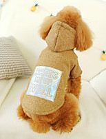 cheap -Dog Coat Hoodie Letter & Number Casual / Daily Cute Casual / Daily Winter Dog Clothes Warm Brown Costume Polyster XS S M L XL