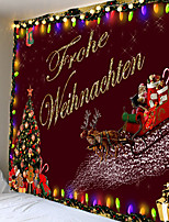 cheap -Christmas Weihnachten Santa Claus Wall Tapestry Art Decor Blanket Curtain Picnic Tablecloth Hanging Home Bedroom Living Room Dorm Decoration Snow Elk Christmas Tree Coloured Lights Polyester