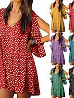 cheap -Women's Swing Dress Short Mini Dress - Long Sleeve Print Print Summer V Neck Casual Boho Holiday Loose 2020 Black Blue Purple Red Yellow Green S M L XL XXL 3XL 4XL 5XL