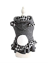 cheap -warm knitted small dog winter coat lined with fleece, cute bear dog dress for couple wear
