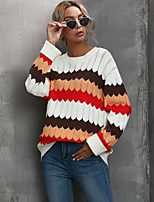 cheap -Women's Basic Knitted Striped Pullover Long Sleeve Sweater Cardigans Crew Neck Round Neck Fall Red