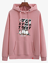 cheap -Women's Hoodie Sweatshirt Hoodies Pullover Hoody Black White Pink Cartoon Hoodie Crew Neck Cotton Animal Patterned Cute Sport Athleisure Pullover Long Sleeve Breathable Warm Soft Comfortable Everyday