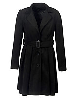 cheap -Women's Single Breasted Notch lapel collar Coat Long Solid Colored Daily Basic Black S M L
