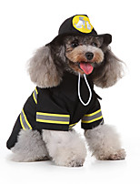 cheap -Dog Halloween Costumes Costume Shirt / T-Shirt Firemen Casual / Sporty Cool Christmas Party Dog Clothes Breathable Black Costume Polyester S M L XL