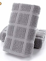 cheap -plaid hand towels cotton quick-dry jacquard wash towels solid color check towel for bathroom & #40;2 pack | grey, 14 x 30 inch& #41;