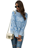 cheap -Women's Christmas Geometric Sweater Long Sleeve Sweater Cardigans Crew Neck Round Neck Spring Fall Blue Red Blushing Pink
