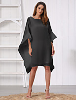 cheap -Women's Shift Dress Knee Length Dress - 3/4 Length Sleeve Solid Color Patchwork Fall Casual Batwing Sleeve Loose 2020 White Black S M L XL XXL