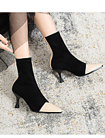 cheap -Women's Boots Sock Boots Flare Heel Pointed Toe Casual Daily Solid Colored Elastic Fabric Mid-Calf Boots Almond / Black