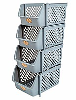cheap -stackable storage bins for food, snacks, bottles, toys, toiletries, plastic storage baskets set of 4, 15x10x7 inch/bin, all dark grey color, storage sins stackable for saving place