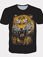 cheap -Men's Daily T-shirt Graphic Print Short Sleeve Tops Streetwear Exaggerated Round Neck Black