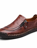 cheap -mens leather comfortable shoes hand stitching zipper non-slip casual shoes loafer boat sneaker dark brown
