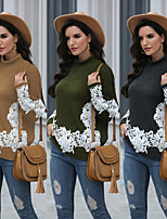 cheap -Women's Basic Knitted Lace Trims Solid Color Plain Pullover Long Sleeve Loose Sweater Cardigans Round Neck Turtleneck Fall Winter Black Army Green Brown