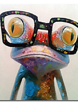 cheap -100% Hand painted Colorful Frog With With Glasses Abstract Oil Painting on Canvas Modern Art Wall Pictures For Living Room Rolled Without Frame