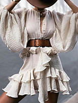 cheap -Women's A-Line Dress Short Mini Dress - Long Sleeve Solid Color Ruffle Patchwork Summer Casual Lantern Sleeve Slim 2020 White S M L XL