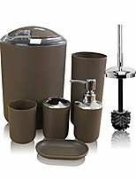 cheap -brown bathroom accessories set, 6 pieces plastic gift bath accessory set luxury ensemble includes toothbrush holder,toothbrush cup,soap dispenser,soap dish,toilet brush holder,trash can