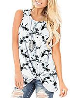 cheap -womens casual summer tunic black tank tops round neck tie dye sleeveless shirt l