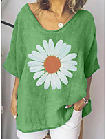 cheap -Women's T-shirt Floral Flower Sunflower Print Round Neck Tops Loose Cotton Basic Basic Top Blue Green