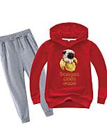 cheap -Kids Boys' Sports & Outdoors Basic Holiday Daily Wear Dog Fantastic Beasts Print Print Long Sleeve Regular Regular Clothing Set Wine